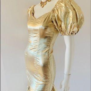 Vintage 1980's Gold Lame Party Prom Dre's Sz S